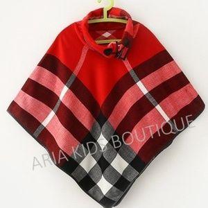WOMEN'S PLAID PONCHO - CHRISTMAS RED